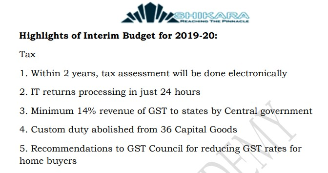 Highlights of Interim Budget for 2019-20